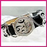 Hello Kitty Diamante Style Ladies Fashion Wrist Watch in Black Color with Free Love Heart Necklace
