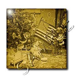 Girl and American Flag Vintage Christmas Antiqued tone - 12 Inch Ceramic Tile
