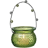Luna Bazaar Hanging Candle Holder And Vase (2.25 Inch, Hobnail Design, Chartreuse Green) For Use With Tea Lights...