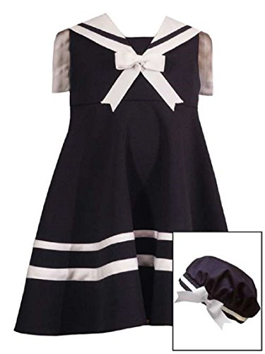 Rare Editions Baby Girls Nautical Sailor Dress & Hat, Navy, 24 Months