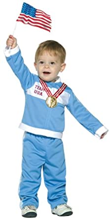 2 Item Bundle: Olympic USA Future Gold Medalist Costume (Special Sale) Size 3T-4T + Free Stickers