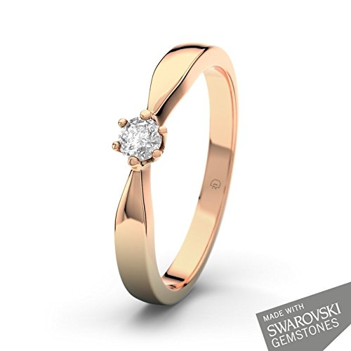 21DIAMONDS Birgit women's ring 14 carat 585 Red Gold 21PREMIUM Weißertopaz Brilliant Cut Engagement Ring