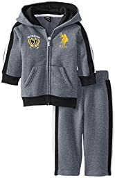 U.S. Polo Assn. Baby Boys\' Zip Up Hoodie and Track Pant, Heather Grey, 12 Months