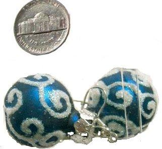 Christmas Earrings Swirl Ornament (cobalt blue)
