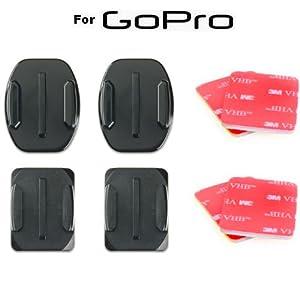 Pack de 2 adhésifs incurvés 3M + 2 adhésifs plats 3M pour caméra Gopro Hero1 & 2 et Hero3 & 3+ (Support adhésif pour casque, carrosserie, carénage, voiture & moto & quad) Compatible Go Pro Outdoor, Motorsport, White, Silver et Black Edition - WINUP®