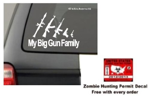 My Big Gun Family Decal Stick Figures Funny Car Window bumper Vinyl Sticker