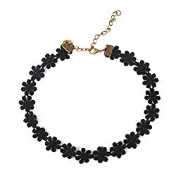 Generic Black Alloy & Lace Choker Necklace For Girls