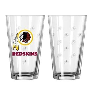 NFL Washington Redskins Satin Etch Pint Glass Set (Pack of 2), 16-Ounce by Boelter Brands