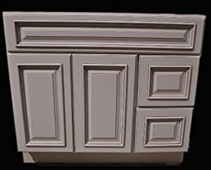 30 Inch All Wood Heritage Ivory White Oldtown Bathroom Vanity Two Drawers C
