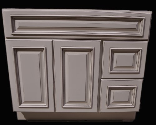 30 Inch All Wood Heritage Ivory / White Oldtown Bathroom Vanity Two Drawers Cabinet Drawers on Left or Right