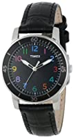 Timex Women's T2P050KW Ameritus Sport Black Dial Multi-Colored Numbers, Black Croco Patterned Leather Strap Watch by Timex