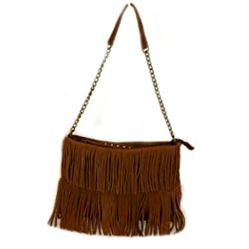 Chocolate Brown Suede Fringe Tote Handbag