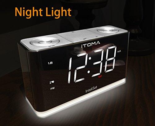 upgraded version itronics led dual alarm clock radio with usb charging digital am fm radio. Black Bedroom Furniture Sets. Home Design Ideas