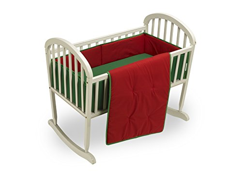 Baby Doll Bedding Solid Reversible Cradle Bedding Set, Red/Green