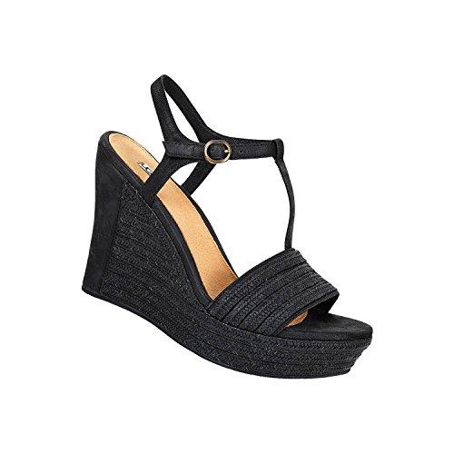 UGG donna sandali con la zeppa 1006844 W / BLK W FITCHIE nero 37 Nero
