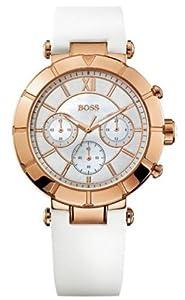 Hugo Boss 1502315 Rose Gold Bezel White Strap Ladies Watch