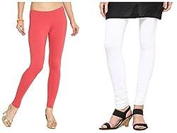 Kamaira Clothings Women's Cotton Leggings (Pack Of 2) (Kamaira_c11_ White Caret Red_Free Size)