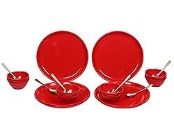 Gluman Dinner Set - Sparkle 24 pcs Round (Red)