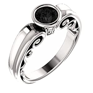 Platinum Round Cut Black Diamond Engagement Ring - 0.75 Ct.