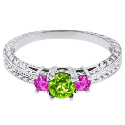 0.56 Ct Round Green Peridot Pink Sapphire 18K White Gold 3-Stone Ring