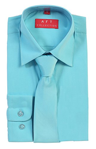 Aft Collection Boys Solid Long Sleeve Dress Shirt w/ Matching Tie 10 Tiffany Blue (Tiffany Blue Shirt compare prices)