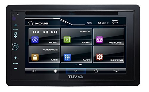 "TUVVA KSD6280 2-DIN Car Stereo with MHL Mobile Connectivity 6.2"" Full Glass Capacitive Touchscreen DVD / CD / USB / MP4 / MP3 Player, 52wx4 MOSFET Speaker Output, RDS Radio Bluetooth, Wireless Remote"