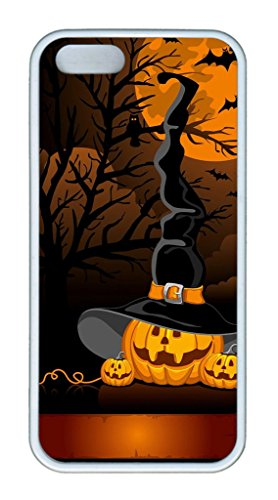 [iPhone 5S/5 Case,White,Soft TPU(Thermoplastic Urethane)Case,(Case can be customized)Ultra-thin Phone Case Soft Back Cover Snap on Case,Nice Logo Cut-Out Fits iPhone5/5S -Halloween Pumpkins Witch] (Witch Cutouts)