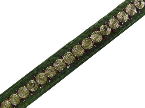 1 Y Olive Green Base Gold Thread Cord Sequin Ribbon Trim Lace New