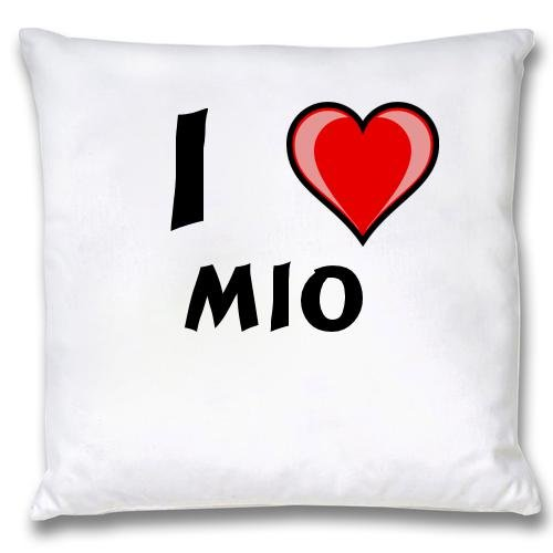 White Cushion Cover with I Love Mio (first name/surname/nickname) first love
