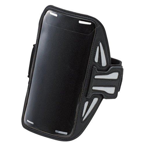 ELECOM アームバンドケース ケーブル巻取機能 5.5インチ対応 タッチ操作可能 滑り止め付 スポーツ ランニング ブラック P-ABC02BK