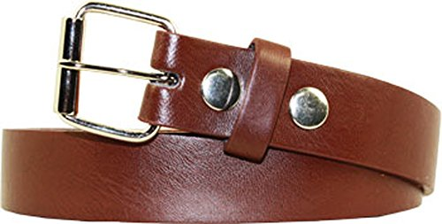 """Kids 1 Inch Plain or Studded Belts Removable Buckle (medium = 24"""", brown)"""