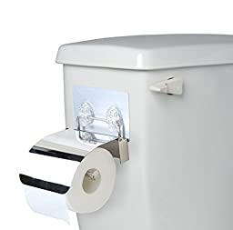 Side-of-Tank Neat Toilet Paper Holder - Non-permanent Sticker Stainless Steel Bath Tissue Dispenser - Self Stick For Easy Smooth Non-Porous Surface Installation - Great for Smaller Bathrooms Dorms RV