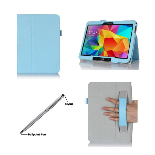 Procase Samsung Galaxy Tab S 10.5 Case - Bi-Fold Flip Stand Cover Case Exclusive For 2014 Galaxy Tab S Tablet (10.5 Inch, Sm-T800), With Hand Strap, Auto Sleep/Wake (Blue)