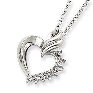 IceCarats Designer Jewelry Sterling Silver Heart Diamond Necklace In 18 Inch