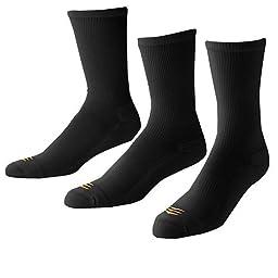 PowerSox Men\'s Coolmax Crew Socks:Two 3 Packs, 6 Pairs total, Black, Large, Fits shoe size 9-12 1/2