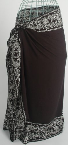 Black Sarong/Pareo with 4 White Batik Flower Borders Hand Made