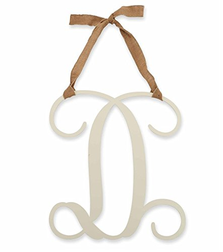 "Mud Pie 18-inch Script Intial ""D"" Ivory Wood Wall Decor with Burlap Hanger - 1"