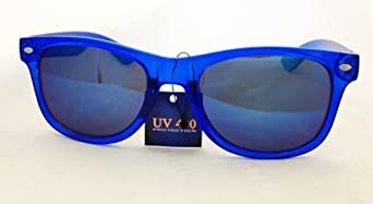 Reflective Color Mirror Lens Neon Color Wayfarers Style Sunglasses-Blue