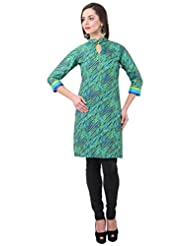 Bombay Fashions Green Printed Cotton Long Kurti