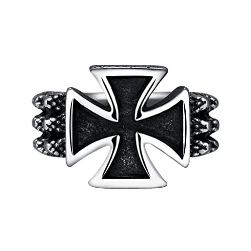 Focus Jewel Men's Punk Gothic Rock Style Cross Ring Snake Bond Twisted Wire Textured Raised Size US 10 (Twisted Wire Ring compare prices)