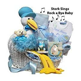 Rock A Bye Baby Singing Plush Stork Gift Basket - Blue Boys or Pink Girls