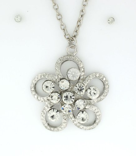 Silver-toned Delicate Flower Pendant with Clear Austrian Crystals Necklace and Earrings Set