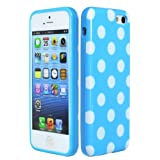 Bastex TPU Case for Apple iPhone 5C - Baby Blue with White Polka Dots