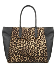 Autograph Leather Leopard Print Slouch Shopper Bag
