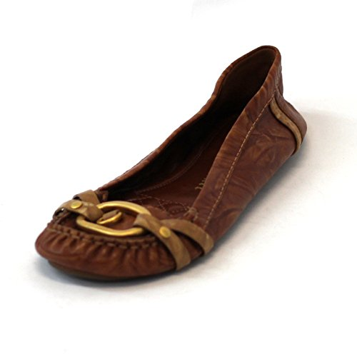 Juicy Couture Mocassins piatta in pelle, taglia 9, (Brown-natural), 36