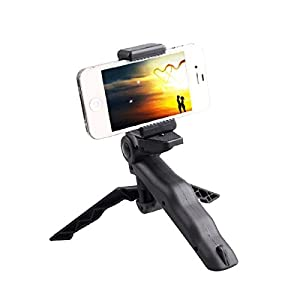 ProCIV Mini Tripod,Mini Tripod Mount + Phone Holder Clip Desktop Self-Tripod for Digital Camera & iPhone 6/6S/5S/SE,Samsung Galaxy S5/6/7 Note 2 3 4 and other Smartphones(Phone Clip / Gopro Clip)