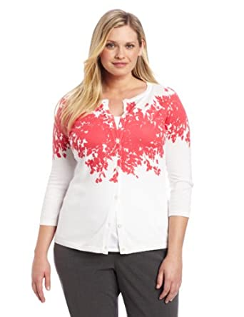 Pendleton Women's Plus-Size Carrie Cardigan Sweater, Ombre Floral Knit