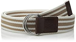 Cole Haan Women's 38mm D-Ring Webbing Pinch Belt, Maple Sugar/White with Woodbury, Small