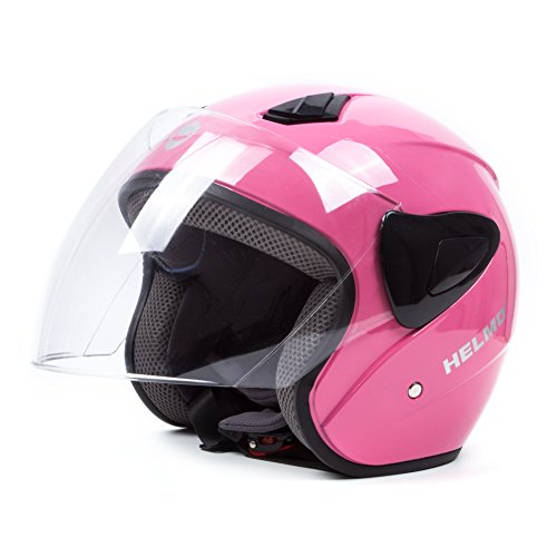 Open Face Motorcycle Helmets Scooter Helmets Flip up Helmets with Shield Pink (Open Face Helmet Pink compare prices)