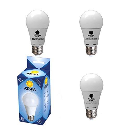 ATAPA 3 x lampadine LED A60 12 watts, 1200 lumen, E27 Edison attacco angolazione della luce a 270°, luce molto bianca naturale, 3000 Kelvin, illuminazione per la doccia, del bagno, cucina, soggiorno, veranda, giardino, biblioteca
